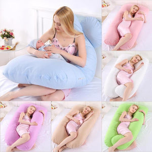 Women Pregnancy Pillow Bedding Full Body Pillow for Pregnant Good Sleeping U-Shape Cushion Long Side Comfortabe Maternity Pillow