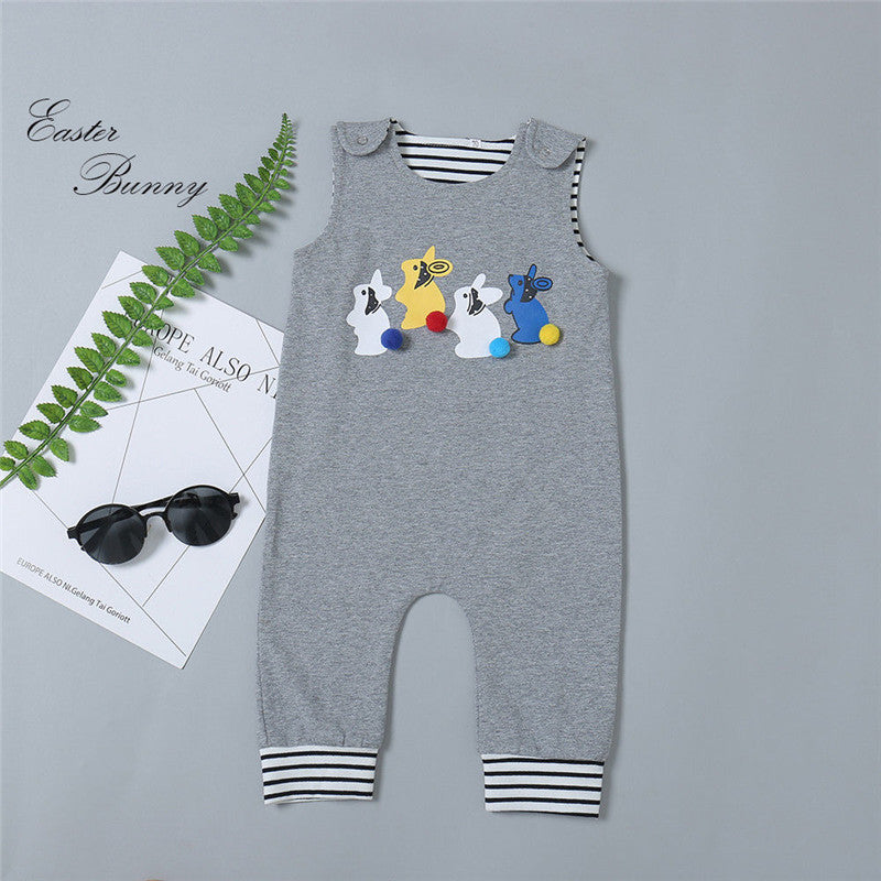 New My 1st Easter Baby Boy Bunny Sleeveless Romper