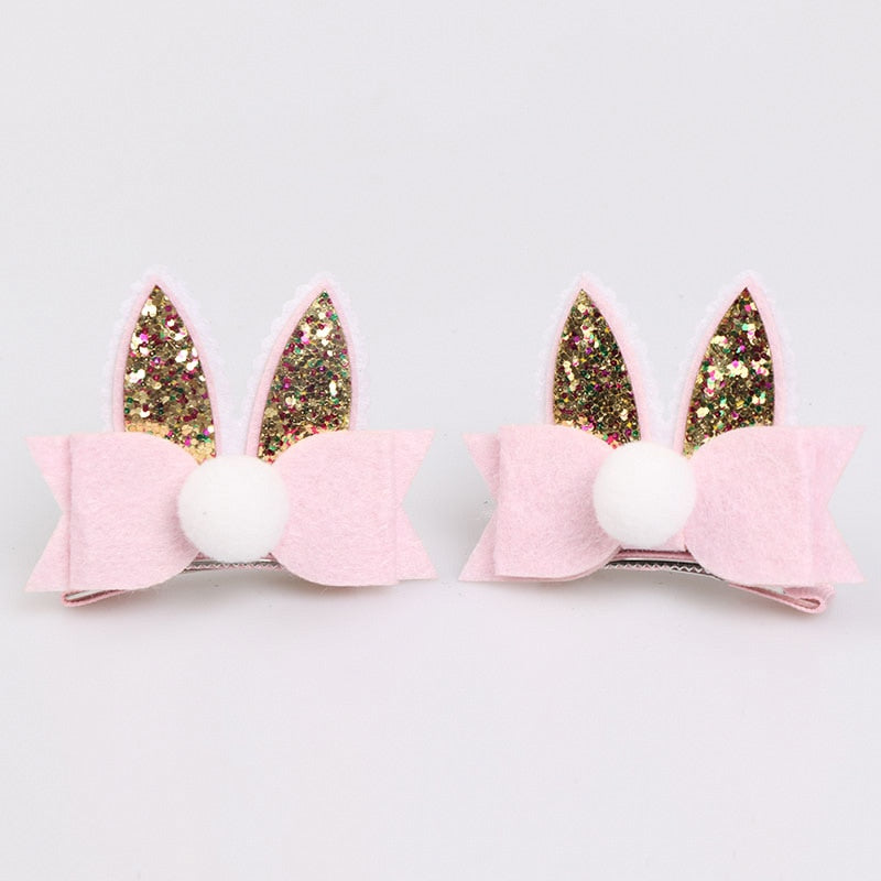 2 pcs/lot, Glitter Bunny Ears Hair Clips