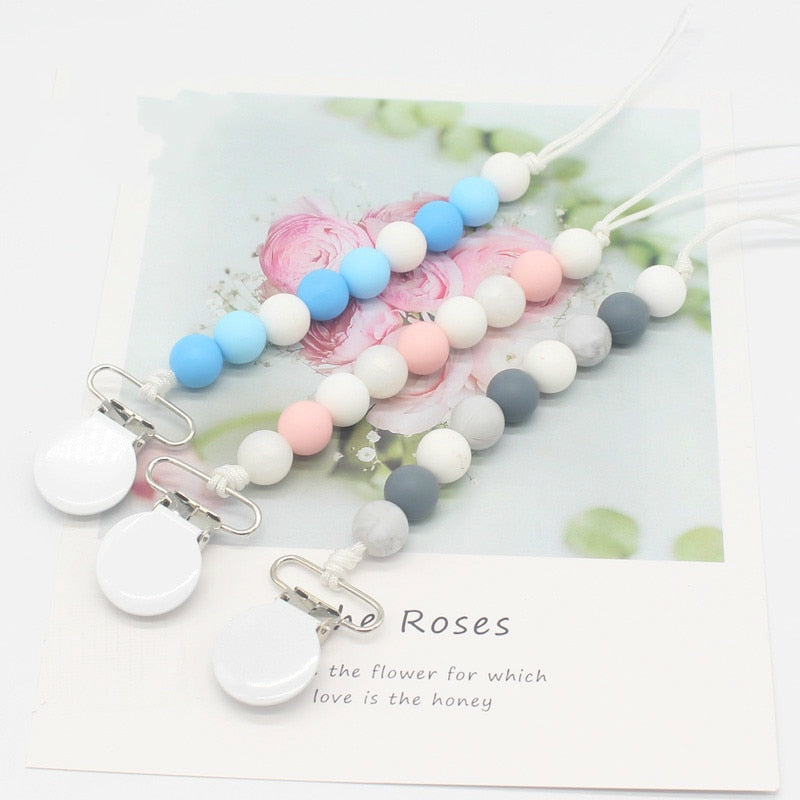 White Metal Pacifier Clips Chain Silicone Beads