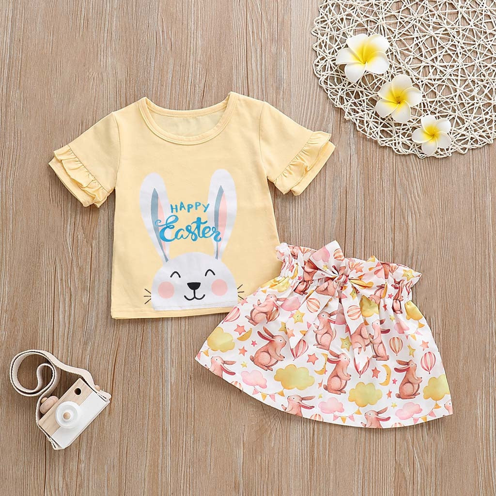 Easter Bunny Ruffles Tops Skirt Outfits clothes Set