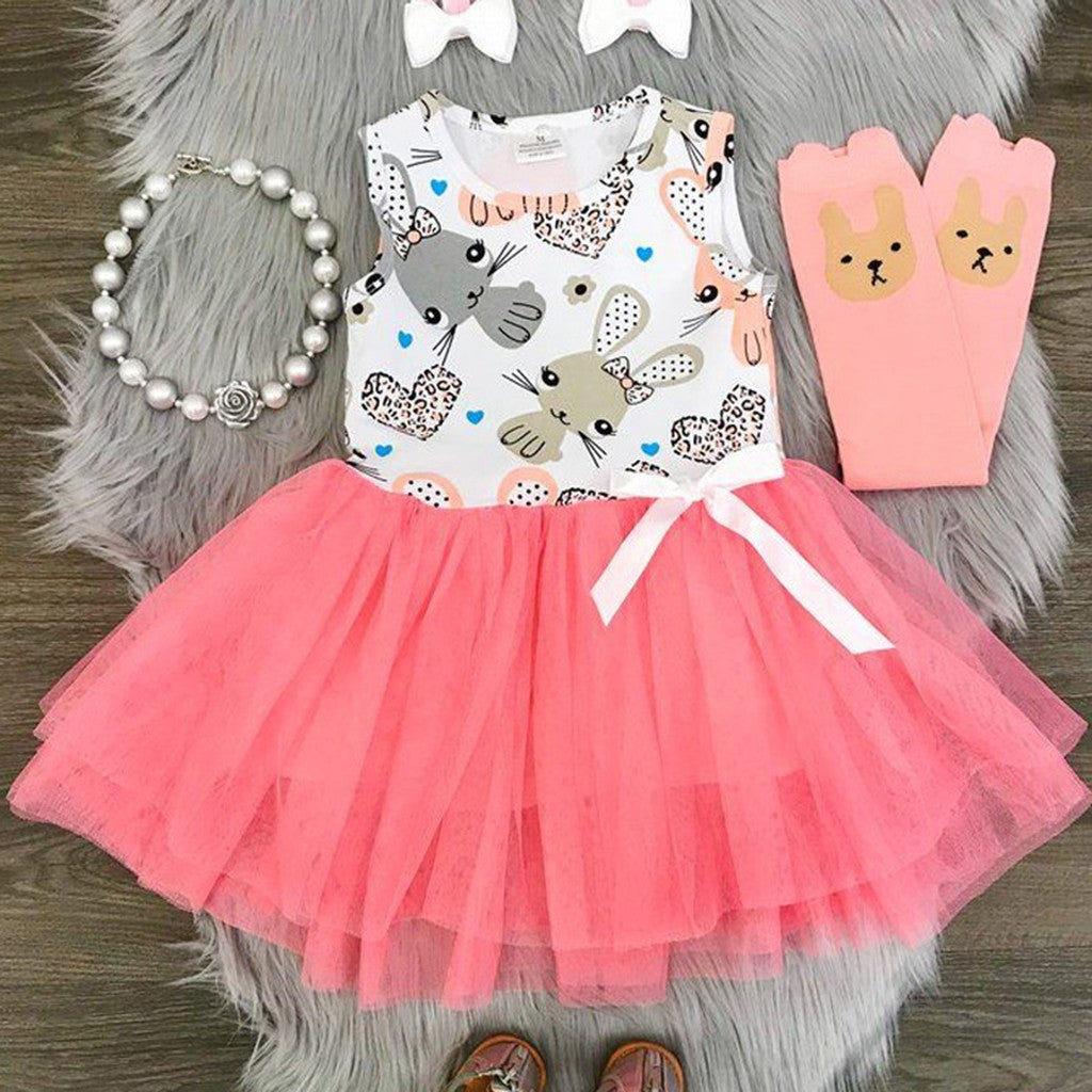 Easter Children Kids Baby Girls Sleeveless Rabbit Print Princess Vest Dress