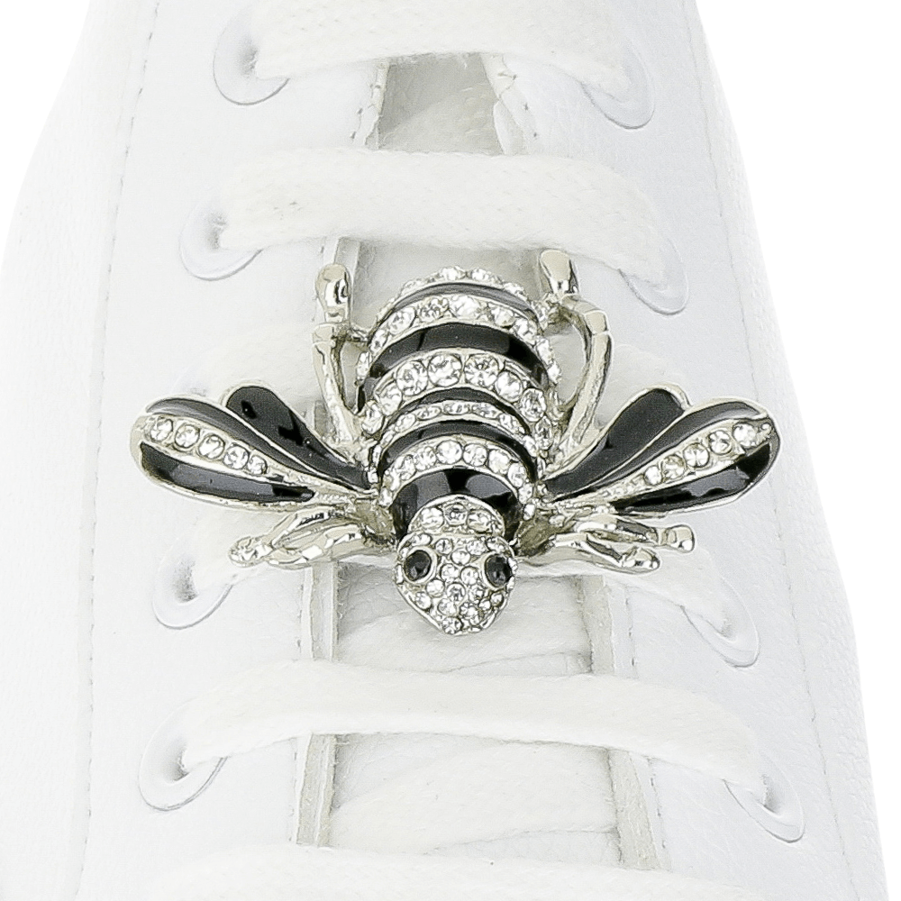 Crystal Black Bee Shoelace Charm