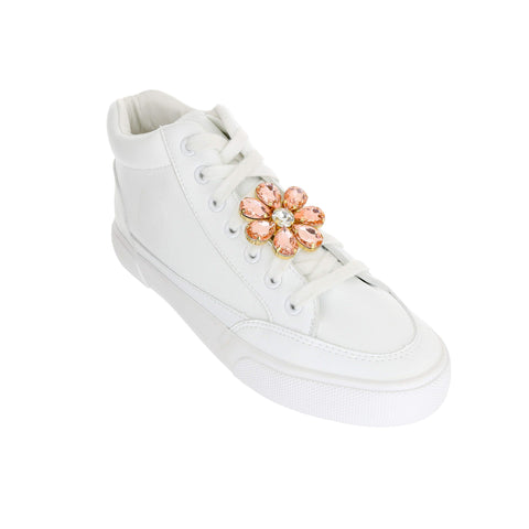 Crystal Pink Flower Shoelace Charm