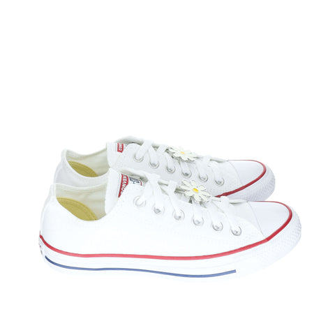 White Custom Converse Chuck Taylor All Star Low-Top Sneaker With White Daisy Set (removable charms)