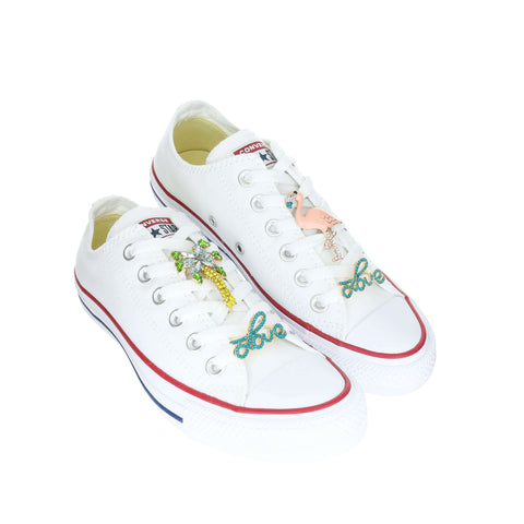 White Custom Converse Chuck Taylor All Star Low-Top Sneaker With Tropical Set (removable charms)