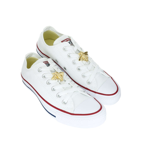 White Custom Converse Chuck Taylor All Star Low Top Sneaker With Golden Bee Set (removable charms)