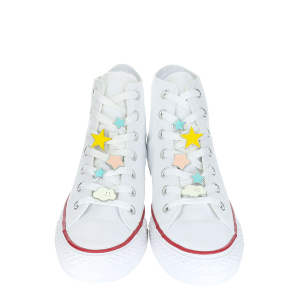 White Custom Converse Chuck Taylor All Star High Top Sneaker With Star Set (removable charms)
