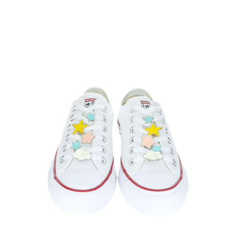 White Custom Converse Chuck Taylor All Star Low Top Sneaker With Star Set (removable charms)