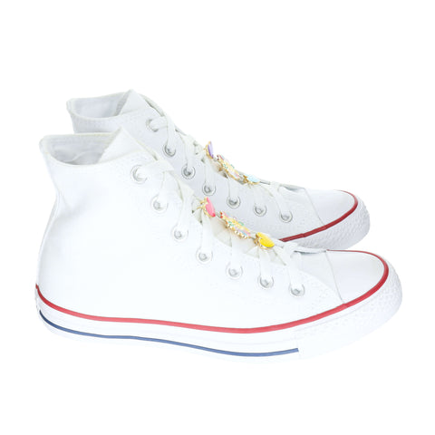 White Custom Converse Chuck Taylor All Star High Top Sneaker With Happy Set (removable charms)