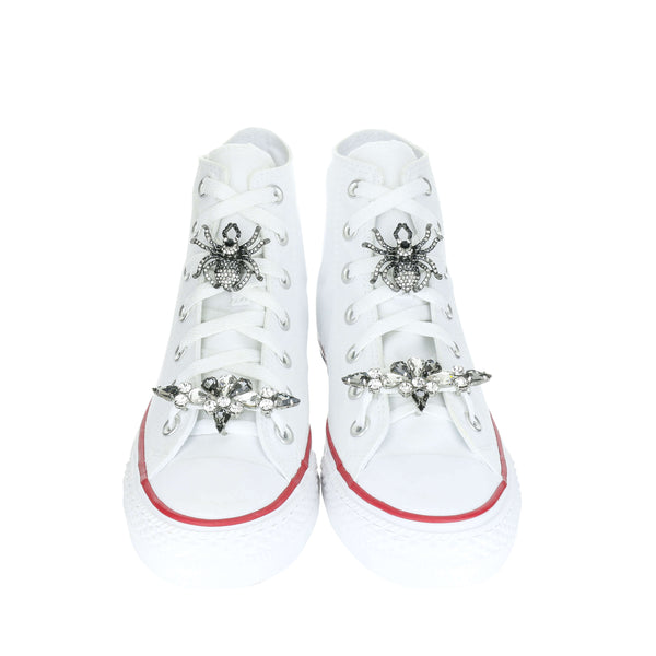 White Custom Converse Chuck Taylor All Star High Top Sneaker With Precious Set (removable charms)