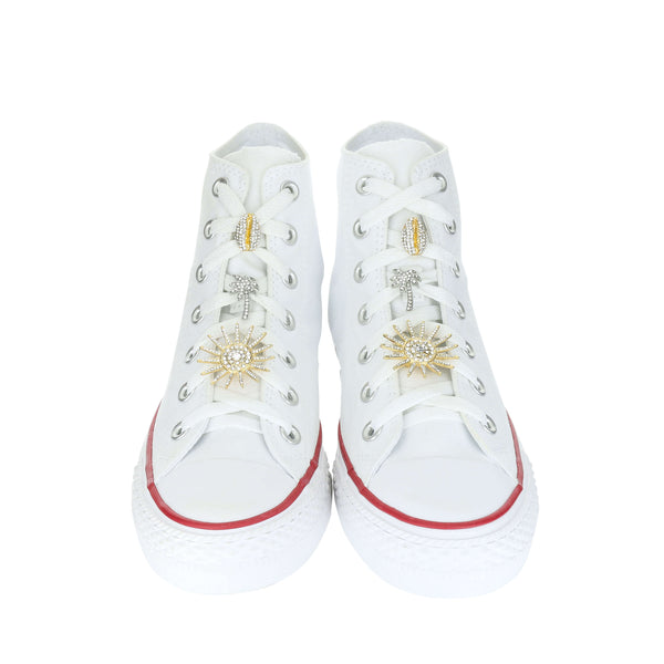 White Custom Converse Chuck Taylor All Star High Top Sneaker With Beach Set (removable charms)