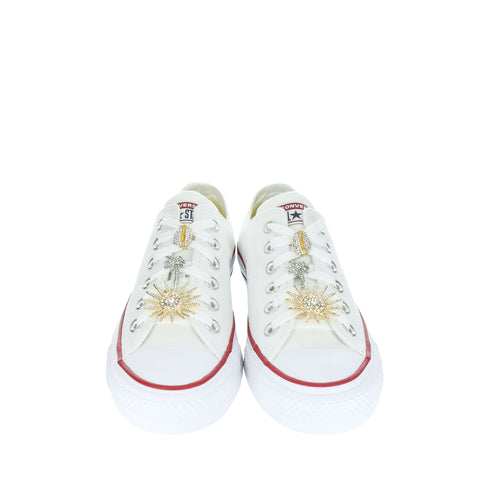 White Custom Converse Chuck Taylor All Star Low Top Sneaker With Beach Set (removable charms)