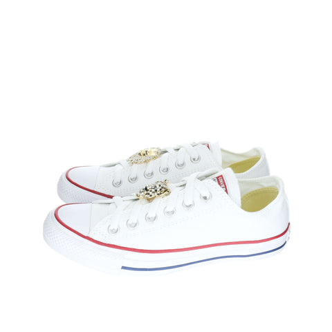 White Custom Converse Chuck Taylor All Star Low Top Sneaker With Feline Set (removable charms)