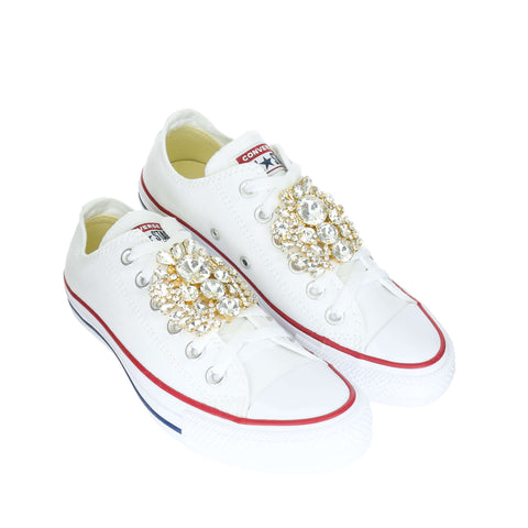White Custom Converse Chuck Taylor All Star Low Top Sneaker With Crystal Baroque Set (removable charms)