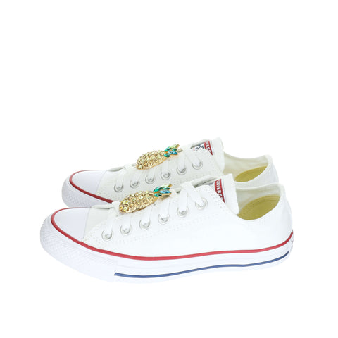 White Custom Converse Chuck Taylor All Star Low Top Sneaker With Pineapple Set (removable charms)