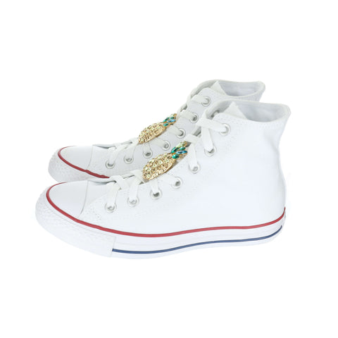 White Custom Converse Chuck Taylor All Star High-top Sneaker With Pineapple Set (removable charms)