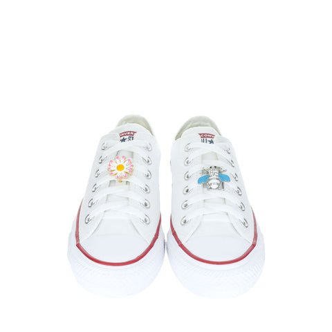 White Custom Converse Chuck Taylor All Star Low Top Sneaker With Spring Set (removable charms)