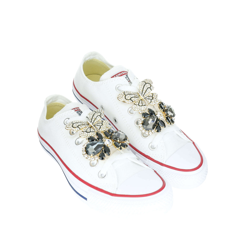 White Custom Converse Chuck Taylor All Star Low Top Sneaker With Black Butterfly Set (removable charms)