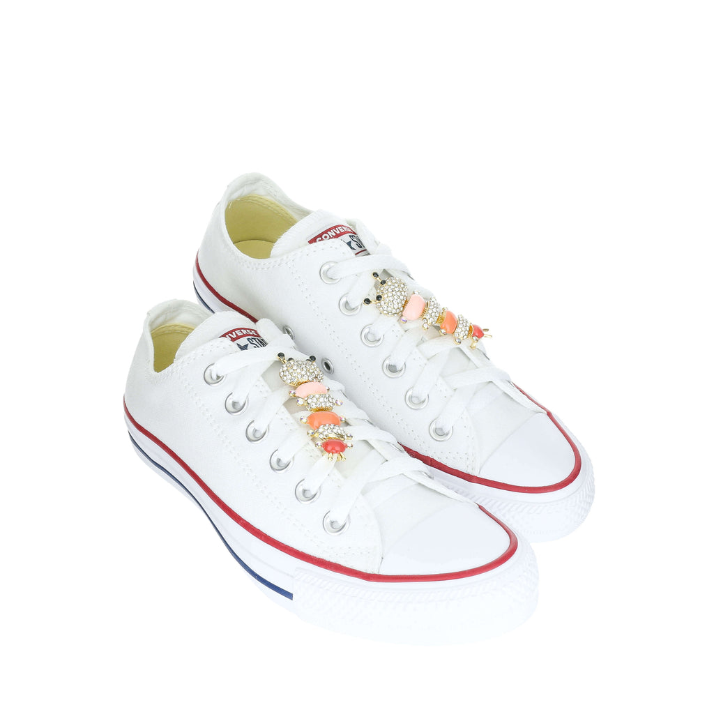 White Custom Converse Chuck Taylor All Star Low Top Sneaker With Pink Caterpillar Set (removable charms)