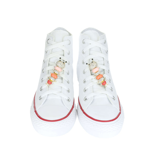 White Custom Converse Chuck Taylor All Star High Top Sneaker With Pink Caterpillar Set (removable charms)