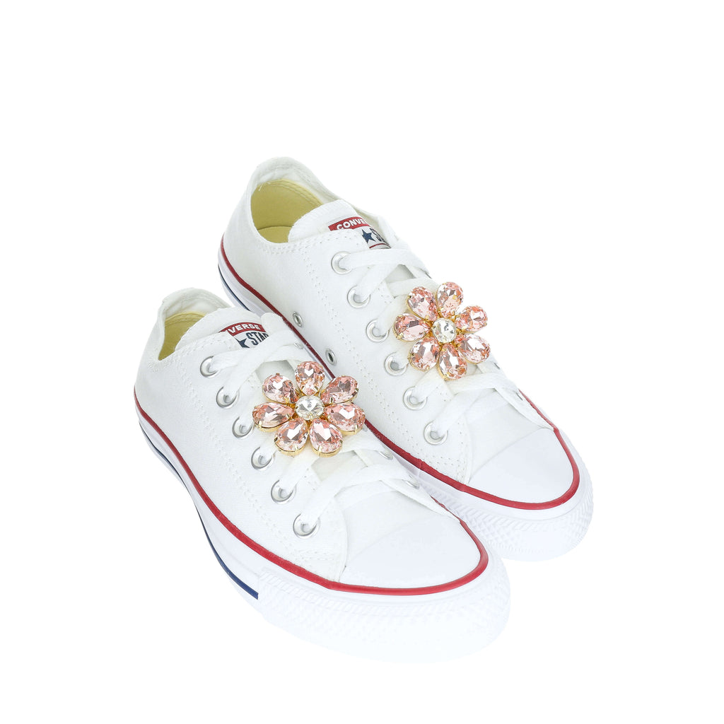 Flower Sneaker Top Custom Charms Converse Star Low Setremovable All White With Taylor Chuck 53jq4LRcA