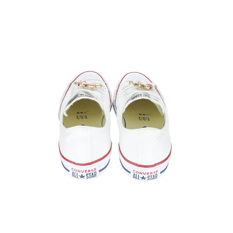 White Custom Converse Chuck Taylor All Star Low Top Sneaker With Flower Set (removable charms)