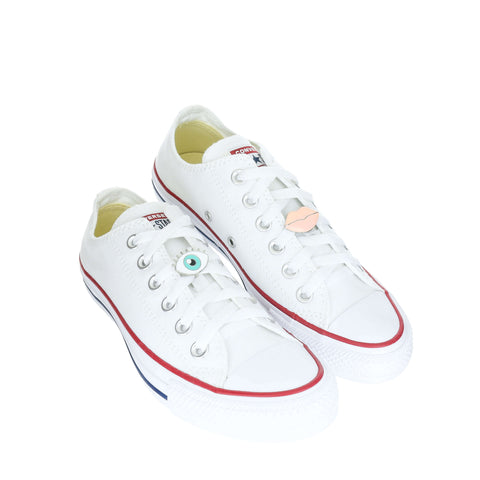 White Custom Converse Chuck Taylor All Star Low Top Sneaker With Lucky Set (removable charms)