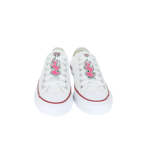 White Custom Converse Chuck Taylor All Star Low Top With Pink Flame Set (removable charms)