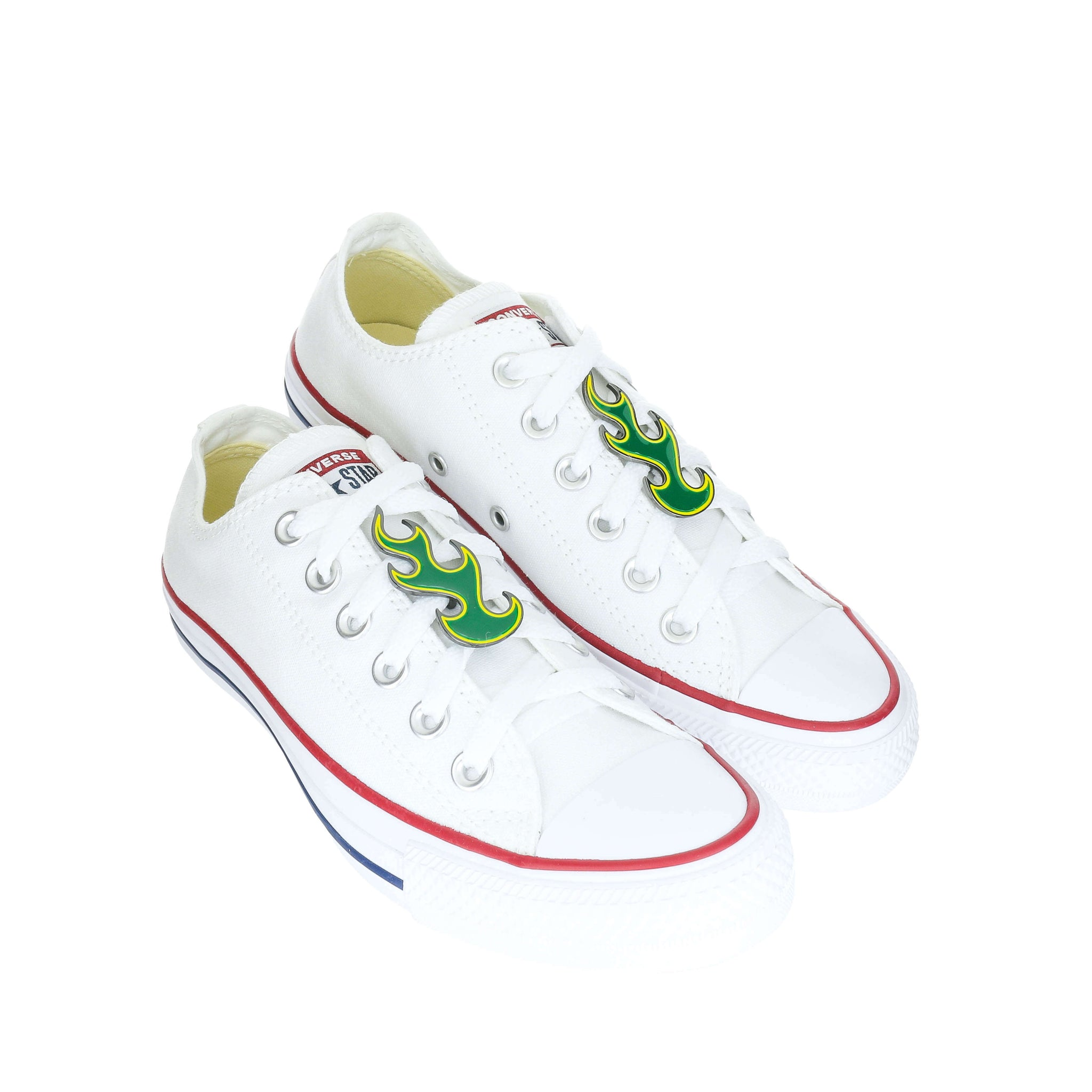 White Custom Converse Chuck Taylor All Star Low Top Sneaker With Green Flame Set (removable charms)