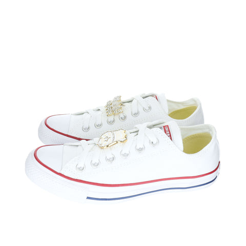 White Custom Converse Chuck Taylor All Star Low Top Sneaker With Hip Hop Set (removable charms)