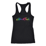 hike and fuck black tank top with rainbow text