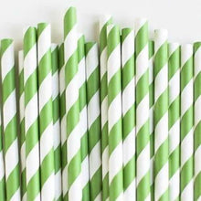 Load image into Gallery viewer, Green and White Striped Paper Straws Valow Wholesale Biodegradable Drinking Straws