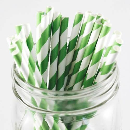 Green and White Striped Paper Straws Valow Wholesale Biodegradable Drinking Straws
