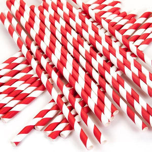 Red and White Striped Paper Straws Valow Wholesale Biodegradable Drinking Straws