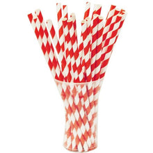 Load image into Gallery viewer, Red and White Striped Paper Straws Valow Wholesale Biodegradable Drinking Straws