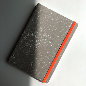 Grey Speckle Notebook with Orange Strap
