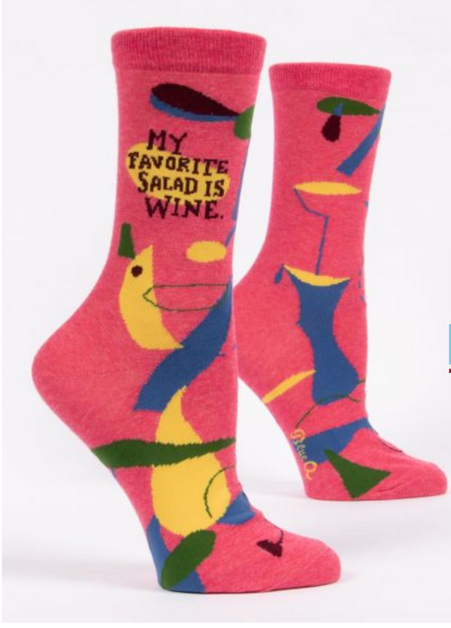 My Favorite Salad is Wine - Women's Crew Socks