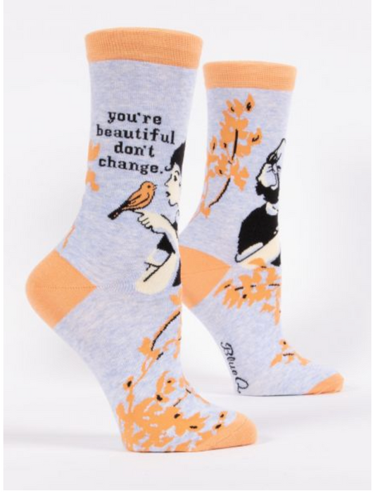 You're Beautiful, Don't Change - Women's Crew Socks
