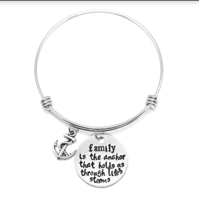 'Family Quote Bangle Bracelet - Wicked Lovely Creations - Hand Stamped Jewelry