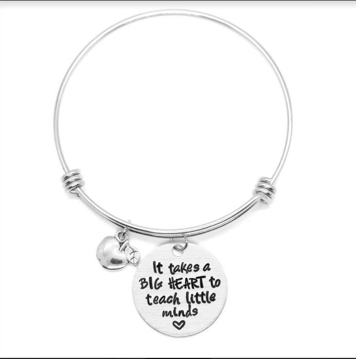 'It takes a big heart to teach little minds' bracelet - Wicked Lovely Creations - Hand Stamped Jewelry