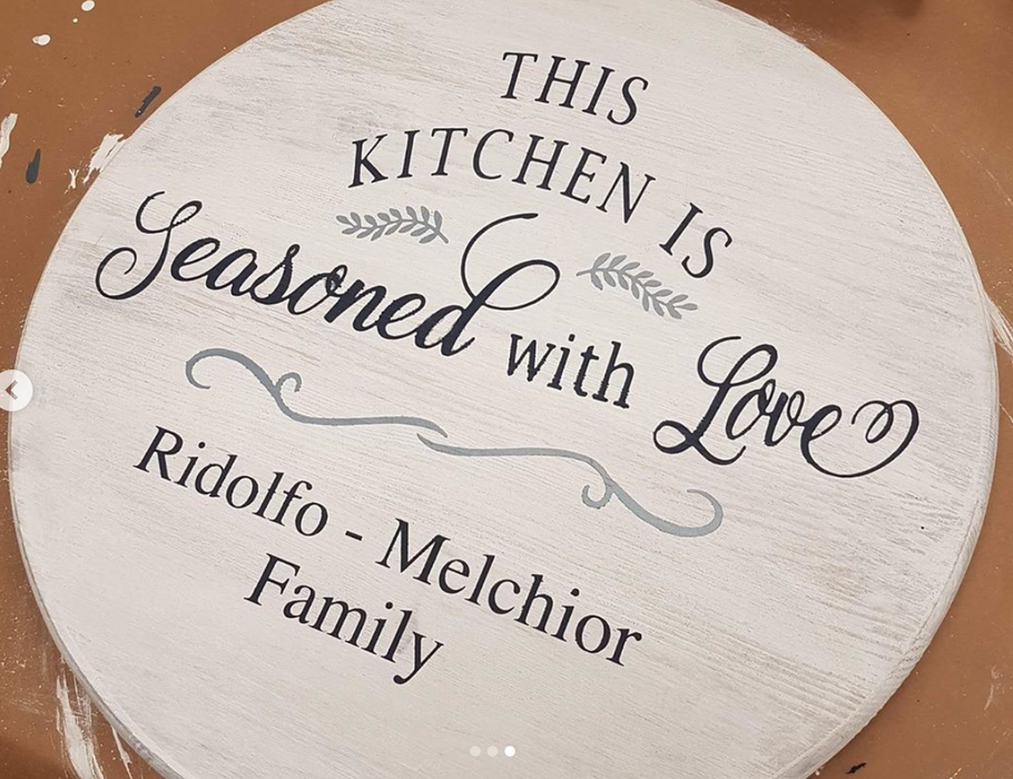 Custom Round Sign/Tray.Lazy Susan