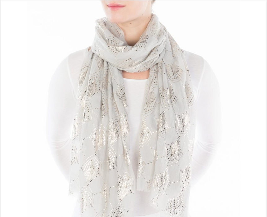 Grey Deco Burst Metallic Scarf