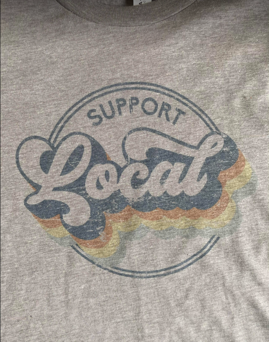 'Support Local' Unisex Long Sleeved Grey T-shirt