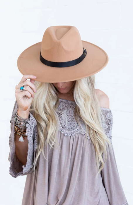 Venice Wide Brim Hat - Taupe Brown