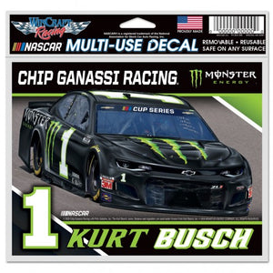 "#1 Kurt Busch 5""x6"" Monster Energy Car Decal - kurtbusch"