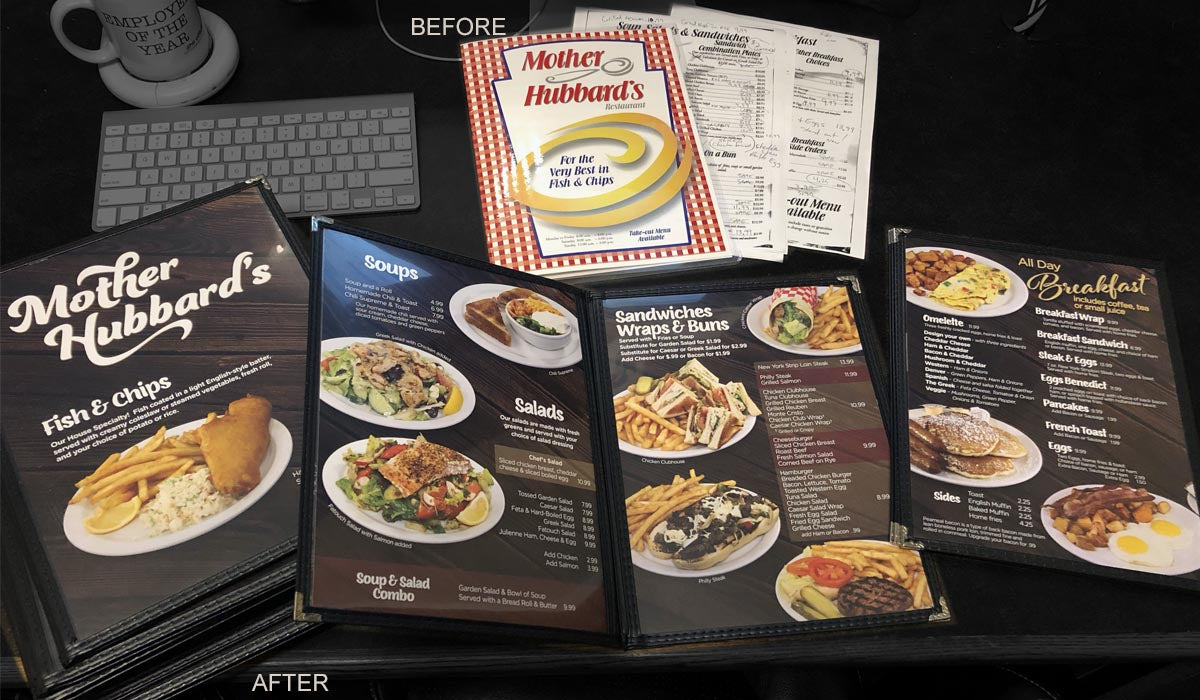 Before and After Mother Hubbard's Menu Redesign
