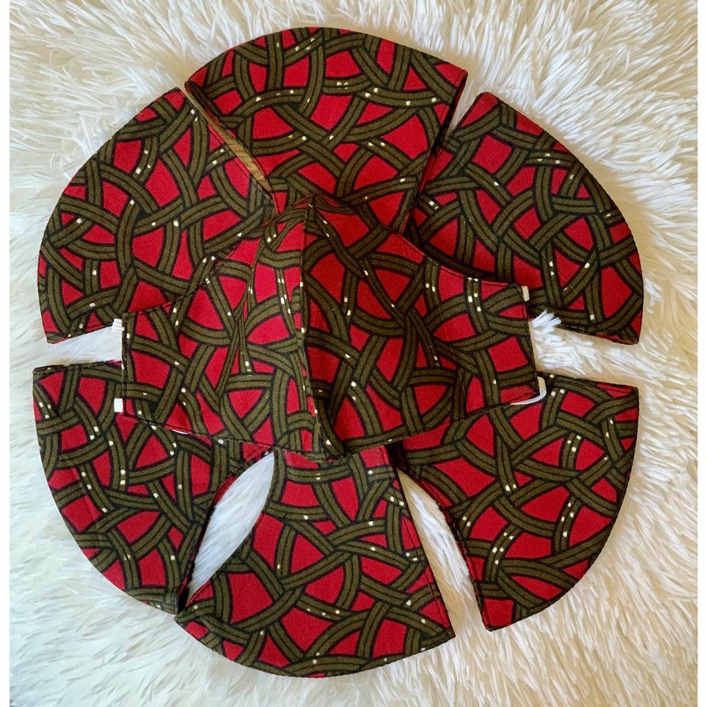 Red and moss green African print mask