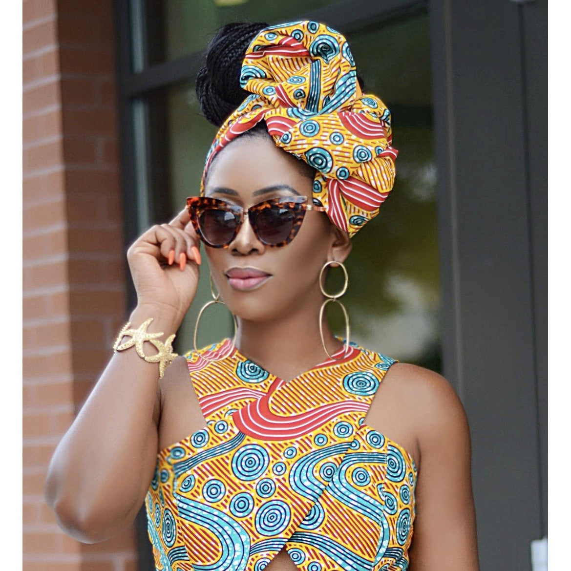 Afua African print headwrap