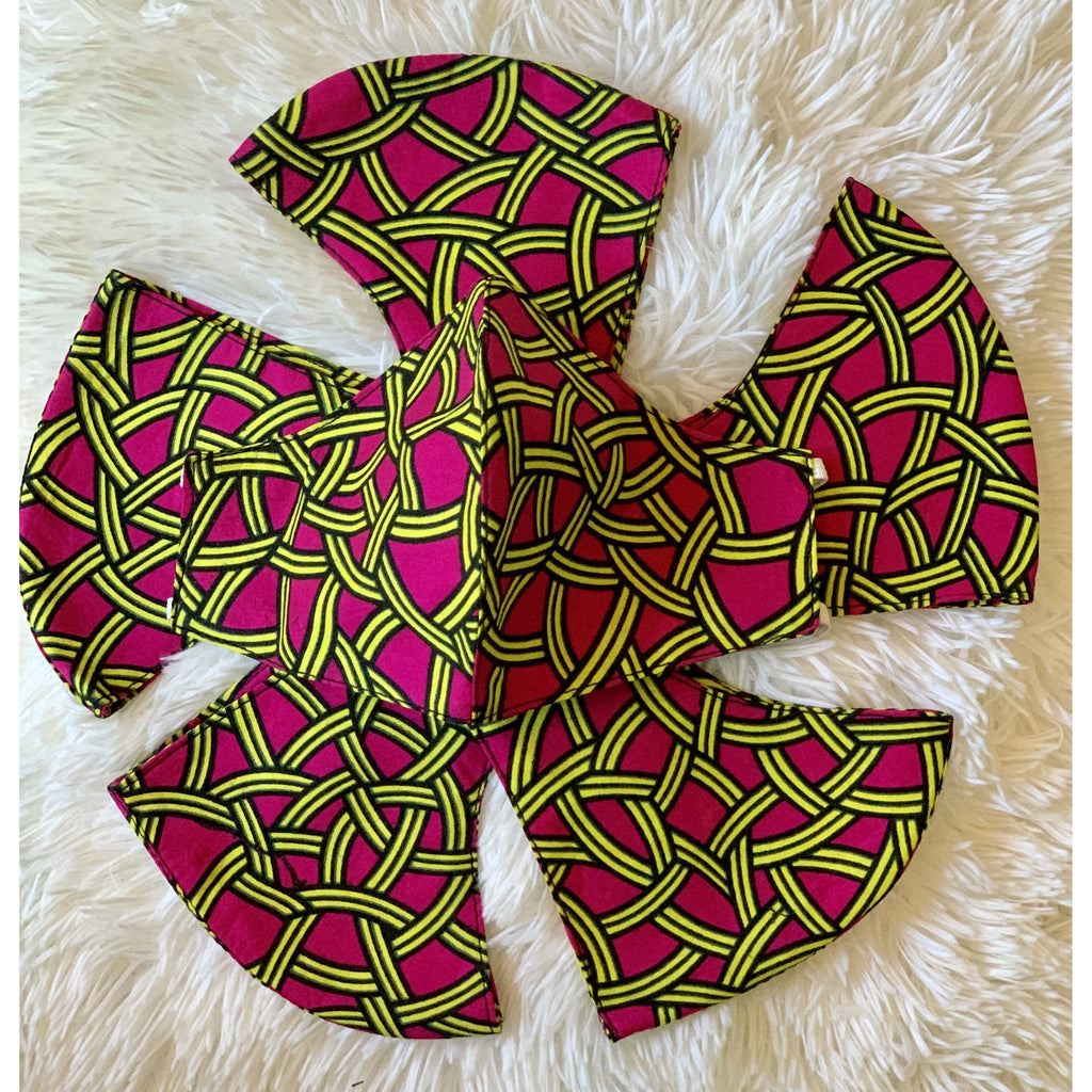 Pink and green African print mask